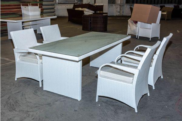 #HBM 2141: Tisch Avignon 200 + 4x Stuhl Pizzo weiß cremeweiß Flachrattan-weiß-cremeweiß