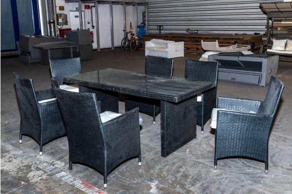 #HBM 2143: Tisch 180 + 6x Stuhl Avignon schwarz Flachrattan