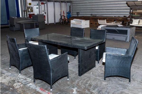 #HBM 2143: Tisch 180 + 6x Stuhl Avignon schwarz Flachrattan-schwarz