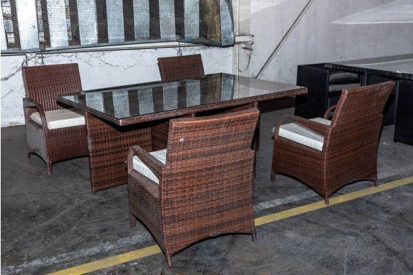 #HBM 2135: Tisch Maui + 4x Stuhl Pizzo braunmeliert cremeweiß Flachrattan-braun-meliert-cremeweiß