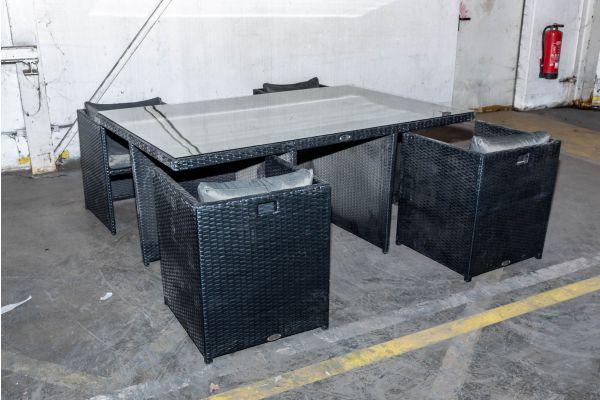 #HBM 2134: Tisch + 4x Sessel Maui schwarz anthrazit Flachrattan