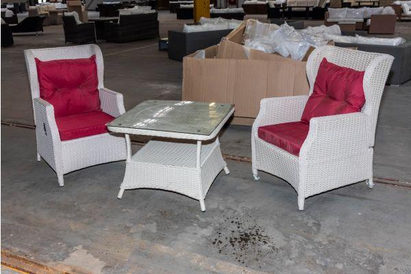 #HBM 2102: 2x Sessel Breno + Tisch Pandora perlweiß rubinrot 5mm