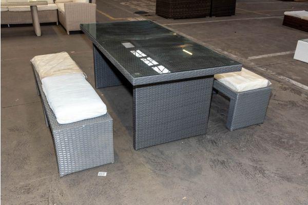 #HBM 2086: 2x Bank Coruna mit Tisch Avignon 180 Flachrattan grau-grau