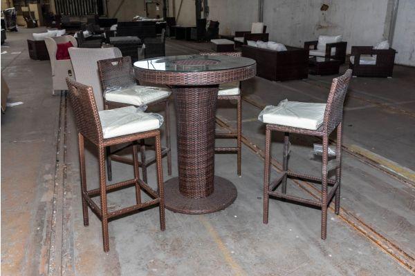 #HBM 2097: 4x Barhocker mit Tisch Mari L Flachrattan braunmeliert