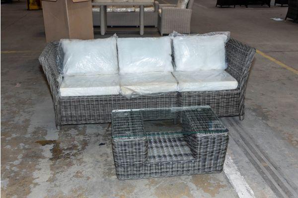#HBM 2065: 3er Sofa bestehend aus 1 Seiten- und Eckelement Santa Lucia mit Tisch Moss 5mm-grau-meliert