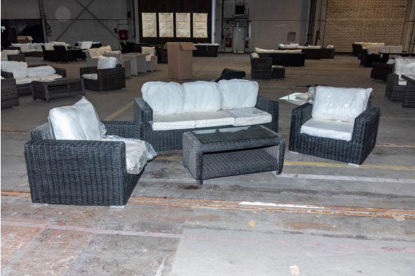 #HBM 2071: 3er Sofa/2x Sessel Madeira mit Tisch San Fernando 5mm schwarz