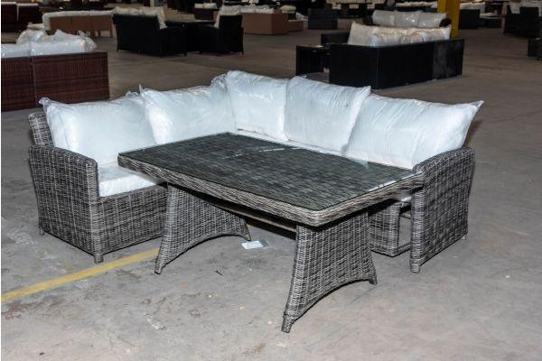 #HBM 2075: Ecksofa mit Tisch Siena 5mm graumeliert