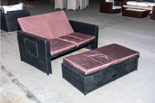 #HBM 2070: Sofa Ancona Flachrattan schwarz