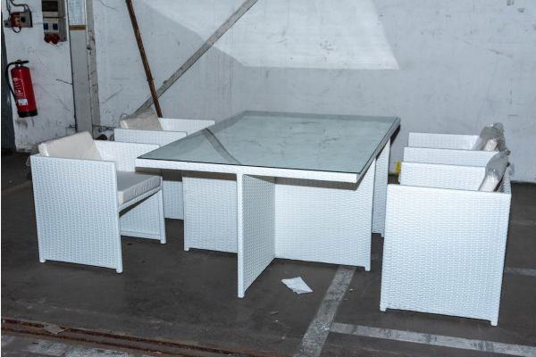 #HBM 2094: 4x Stuhl mit Tisch Maui Flachrattan weiß-weiß-cremeweiß