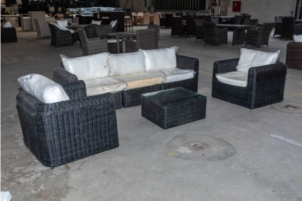 #HBM 2034: 3er Sofa bestehend aus 2 Seiten- und 1 Mittelelement und 2 Sessel mit Tisch Marbella 5mm