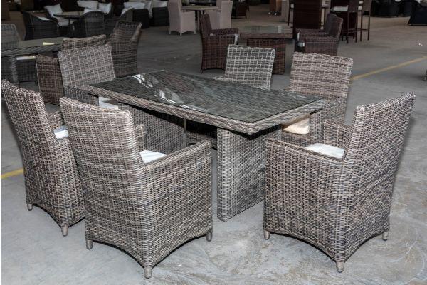 #HBM 2028: 6er Set Stuhl Fontana mit Tisch La Gomera 160x80 5mm