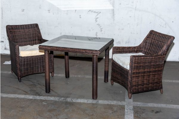 #HBM 2056: 2er Set Sessel Sandnes mit Tisch San Juan 90x90 5mm