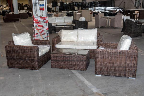 #HBM 2082: Garnitur bestehend aus 2er Sofa und 2er Set Sessel Madeira mit Tisch Bergen 5mm