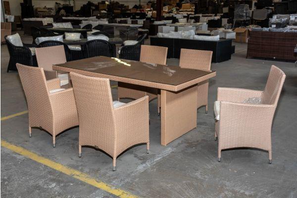 #HBM 2031: 6x Stuhl mit Tisch Avignon 200 Flachrattan sand-sand