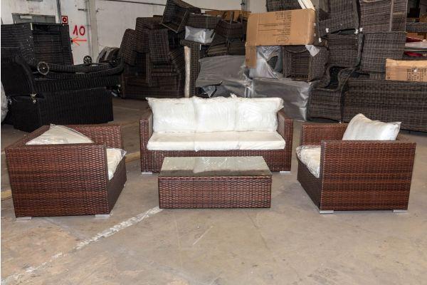 #HBM 2020: 2x Sessel + 3er Sofa Malolo mit Tisch Tibera Flachrattan braunmeliert