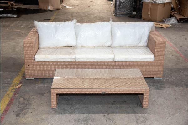 #HBM 2160: 3er Sofa mit Tisch Casablanca Flachrattan sand-sand