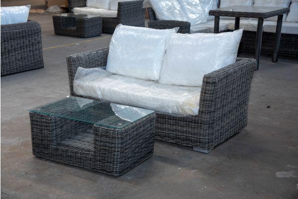 #HBM 2154: 2er Sofa Mandal mit Tisch Moss 5mm graumeliert
