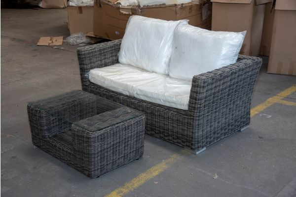 #HBM 2150: 2er Sofa Mandal mit Tisch Moss 5mm graumeliert-grau-meliert