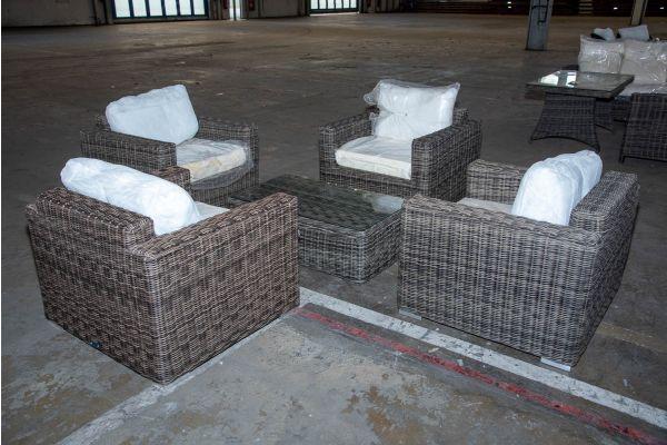 #HBM 2216: 4x Sessel Madeira mit Tisch Tibera 5mm graumeliert