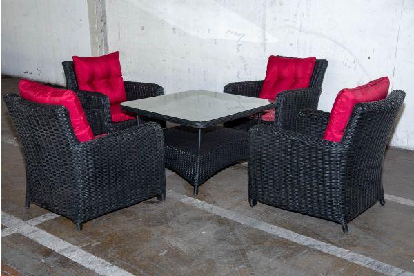 #HBM 2224: 4x Stuhl San Fernando mit Tisch Pandora 100x100 5mm schwarz