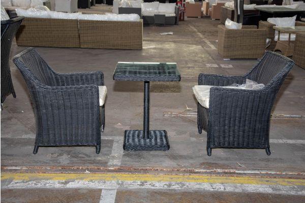 #HBM 2222: 2x Stuhl Sandnes mit Tisch Palermo 5mm schwarz