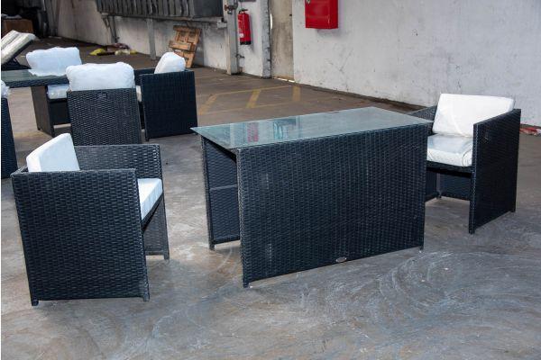 #HBM 2163: 2x Sessel Maui mit Tisch 120x64x74 Flachrattan schwarz -schwarz