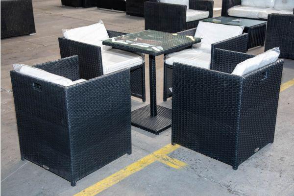 #HBM 2168: 4x Stuhl Maui mit Tisch Palermo Flachrattan schwarz