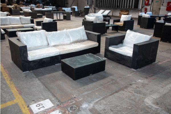 #HBM 2177: Seiten-/Eckelement/Sessel Barcelona mit Tisch 82x55x28 Flachrattan schwarz