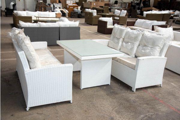 #HBM 2172: 2x 3er Sofa mit Tisch Fisolo Flachrattan weiß-weiß
