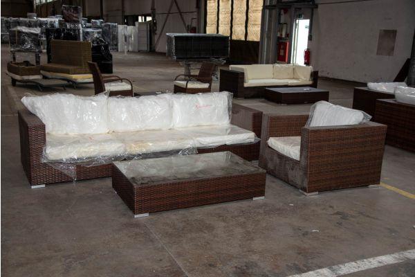 #HBM 2261: 3er Sofa Barcelona bestehend aus 2 Eck- und 1 Mittelelement mit Sessel und Tisch