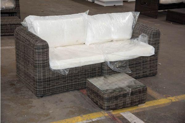 #HBM 2324: 2er Sofa bestehend aus 2 Eckelementen Marbella mit Beistelltisch Atessa 5mm-grau-meliert