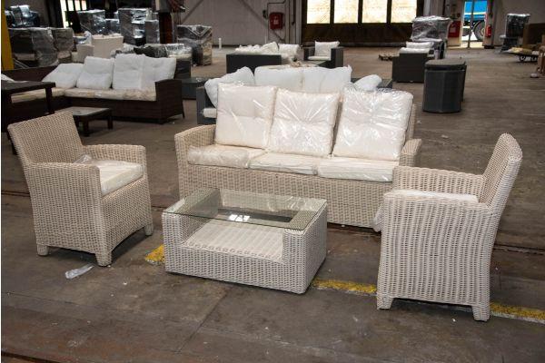#HBM 2318: 2er Set Sessel Fontana mit 3er Sofa Fisolo und Tisch Costa Rica 5mm-perlweiß-cremeweiß