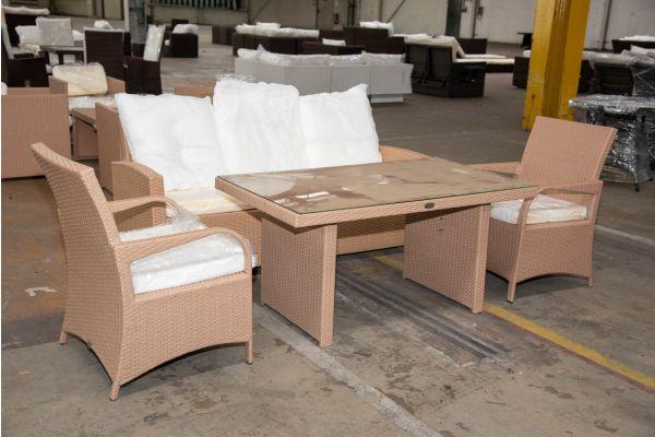 #HBM 2269: Sitzgruppe bestehend aus 3er Sofa und Tisch Fisolo mit 2er Set Sessel Pizzo-sand