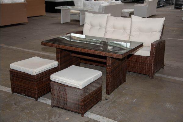 #HBM 2309: 3er Sofa mit Tisch Fisolo und 2er Set Hocker Maui