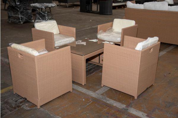 #HBM 2266: 4er Set Stuhl Maui mit Tisch Casablanca