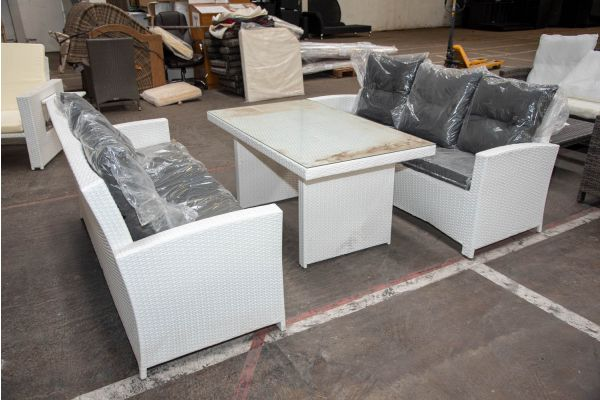 #HBM 2298: Sitzgruppe bestehend aus 2er Set 3er Sofa und Tisch Fisolo