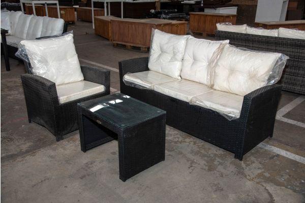 #HBM 2291: 3er Sofa und Sessel Fisolo mit Tisch Casablanca-schwarz-cremeweiß