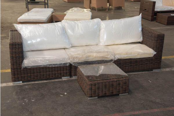 #HBM 2438: 3er Sofa bestehend aus 2 Seiten- und 1 Mittelelement mit Tisch Ariano 5mm