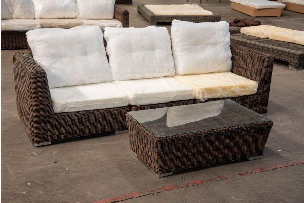 #HBM 2340: 3er Sofa bestehend aus 2 Eck- und 1 Mittelelement Ariano mit Tisch Mandal 5mm-braun-meliert