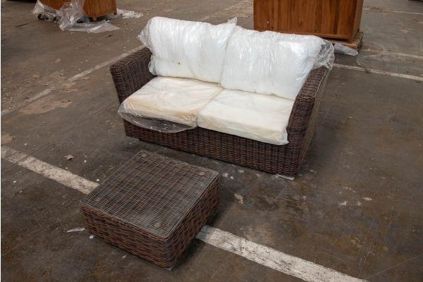 #HBM 2331: 2er Sofa Mandal mit Tisch Ariano 5mm-braun-meliert