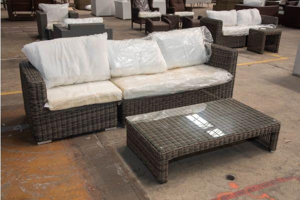 #HBM 2405: 3er Sofa bestehend aus 1 Seiten-und 1 Eckelement Tessera mit Tisch Casablanca 5mm