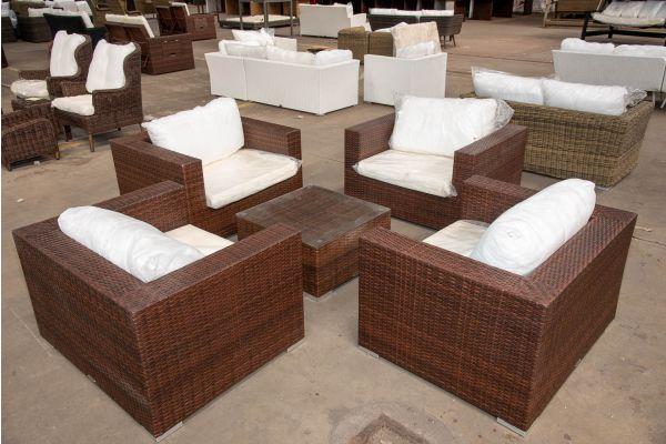 #HBM 2414: 4er Set Sessel Casablanca mit Tisch 66x66x35-braun-meliert
