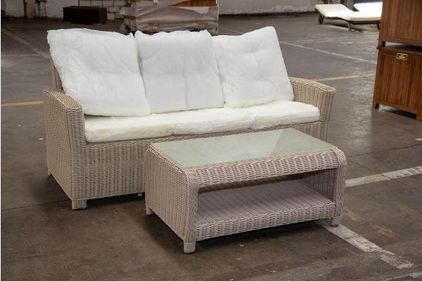 #HBM 2395: 3er Sofa Fisolo mit Tisch San Fernando 5mm-perlweiß