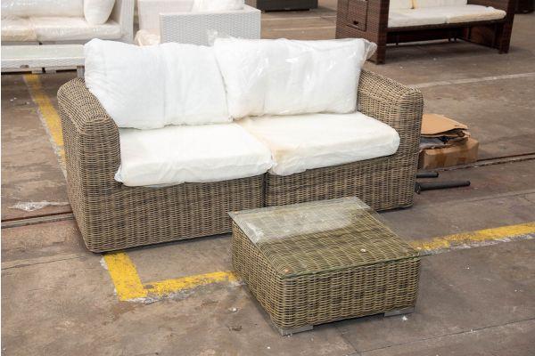 #HBM 2420: 2er Sofa Marbella bestehend aus 2 Eckelementen mit Tisch Ariano 5mm-natura