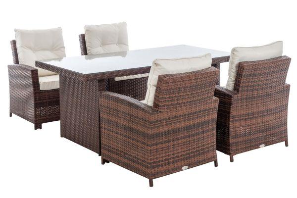 M# 4er Set Stuhl Fisolo mit Tisch Avignon 180