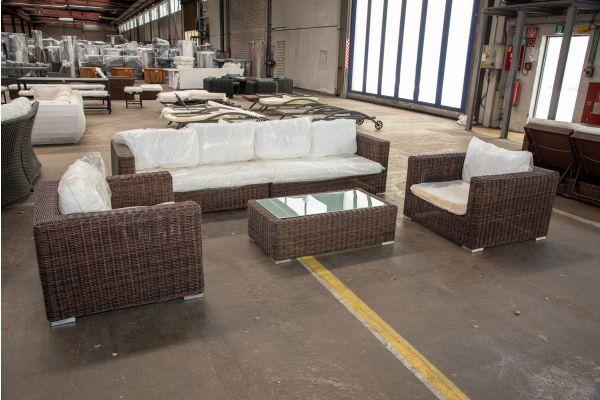 #HBM 2555: 2er Sofa bestehdend aus 2 Seitenelementen mit 2er Set Sessel Barcelona mit Tisch Madeira 5mm