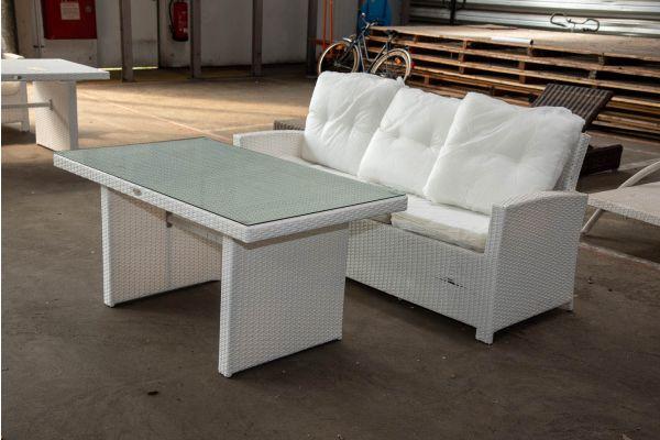 #HBM 2567: 3er Sofa mit Tisch Fisolo-weiß