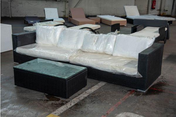 #HBM 2550: Sofa bestehend aus 2 Seitenelementen Barcelona mit Tisch Tibera