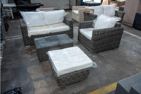 #HBM 2573: 2er Sofa und Sessel Madeira mit Hocker Mandal und Tisch Moss 5mm-grau-meliert