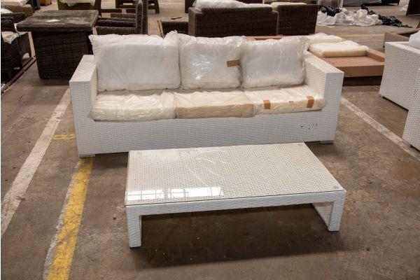 #HBM 2506: 3er Sofa Casablanca mit Tisch-weiß